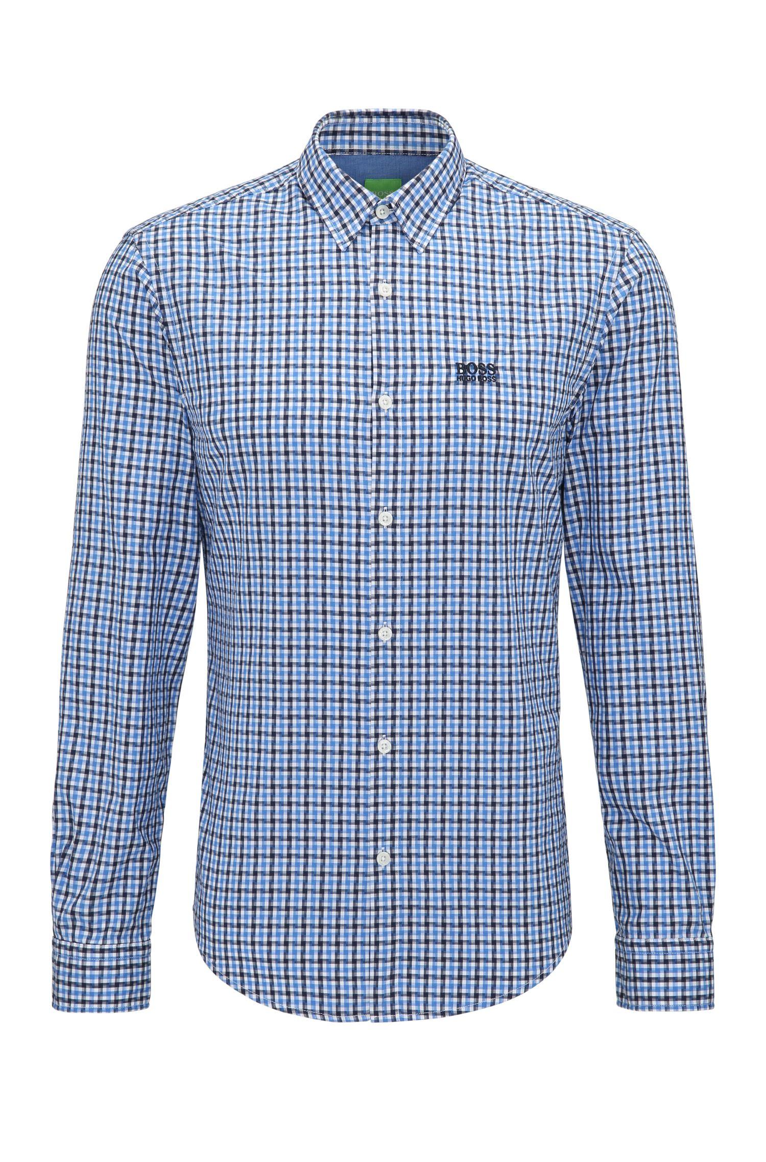 Regular-fit overhemd van katoen met vichyruit