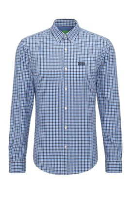 Regular-fit cotton shirt in a Vichy check, Blue