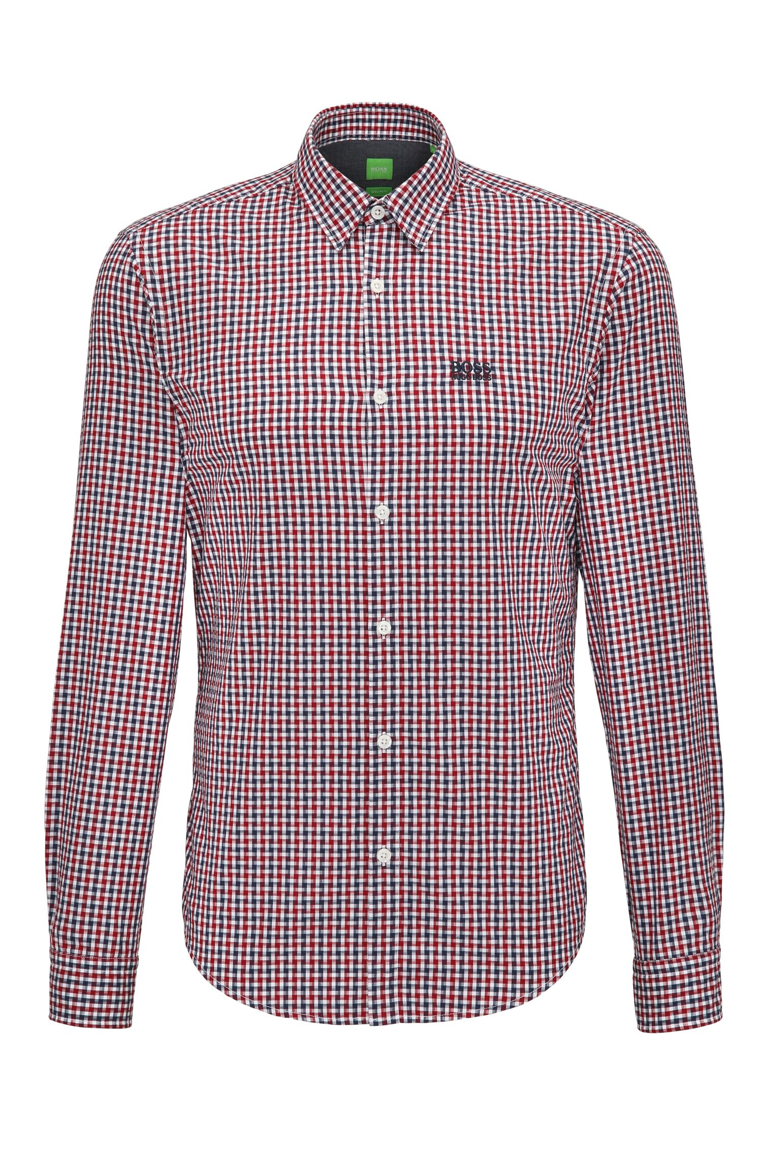 Camicia regular fit in cotone a quadri Vichy
