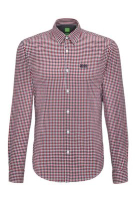 Regular-fit cotton shirt in a Vichy check, Dark Red
