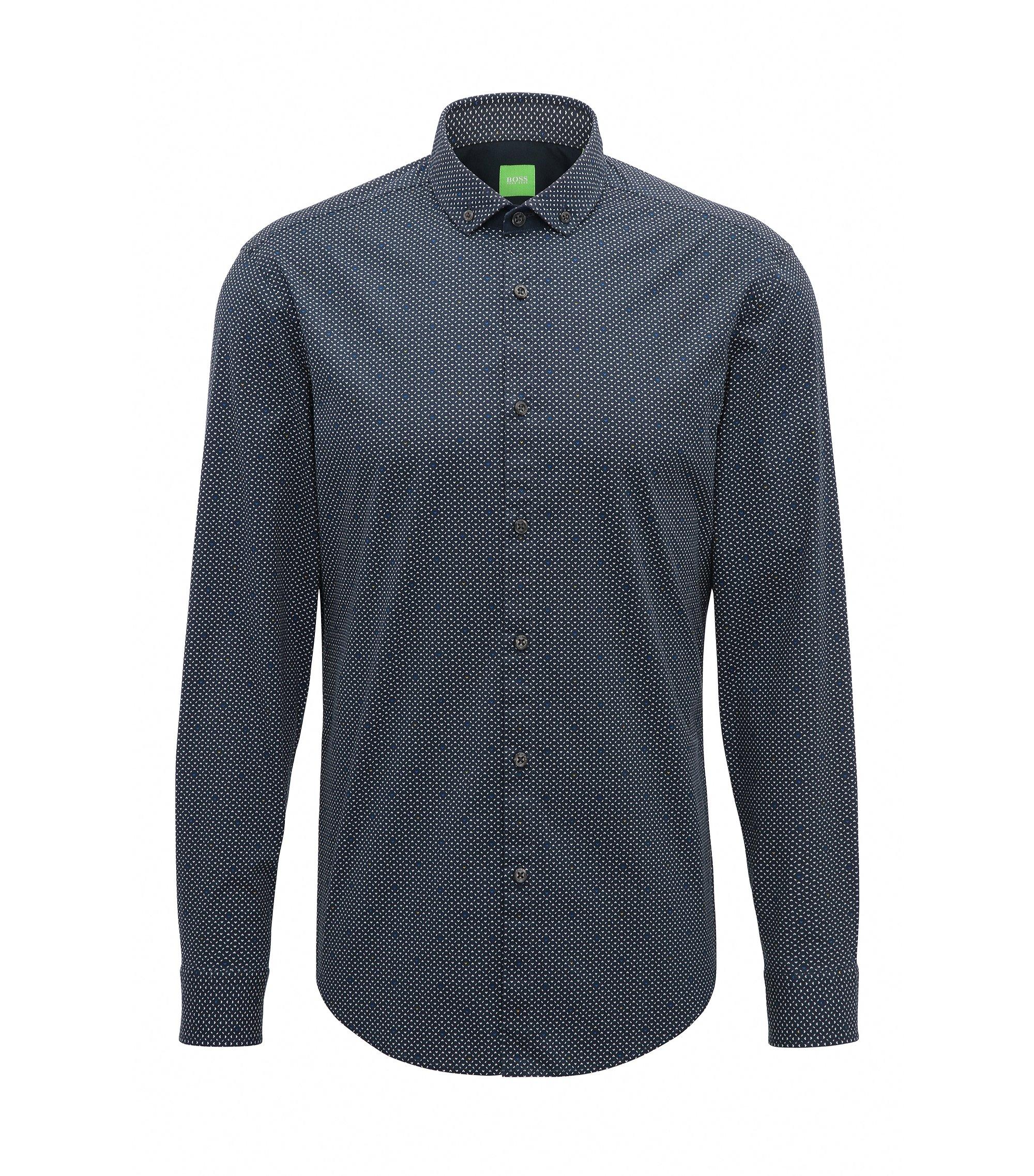 Slim-Fit Hemd aus angerauter Stretch-Baumwolle, Dunkelblau