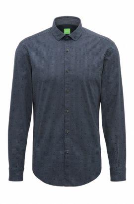 Camisa slim fit en algodón elástico sometido a un proceso de cepillado especial, Azul oscuro