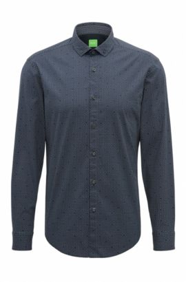 Slim-fit shirt in peached stretch cotton, Dark Blue