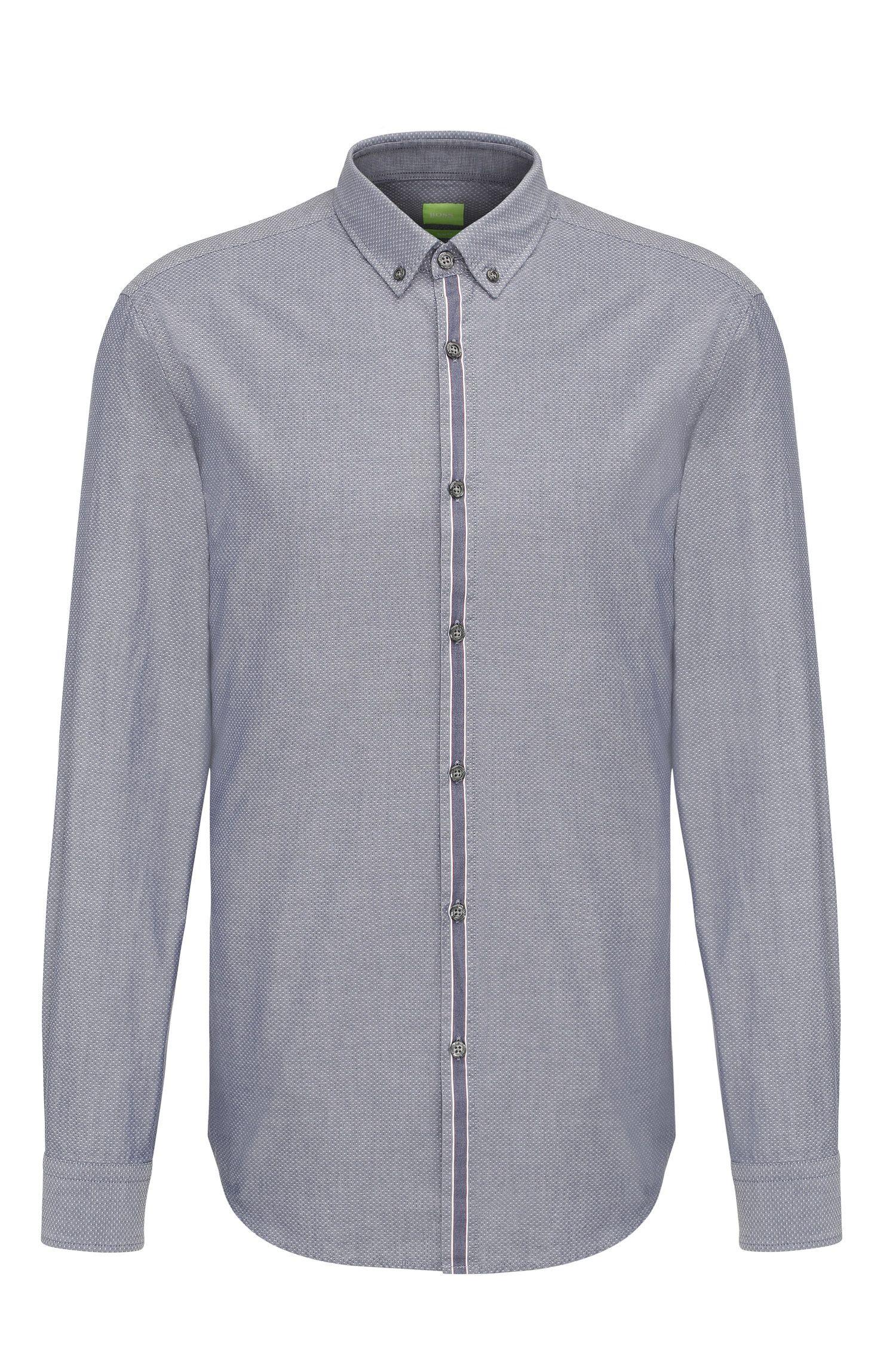 Slim-fit cotton shirt with placket stripe