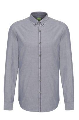 Chemise Slim Fit en coton avec patte de boutonnage ornée d'une bande, Bleu