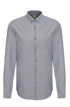 Slim-fit cotton shirt with placket stripe, Blue