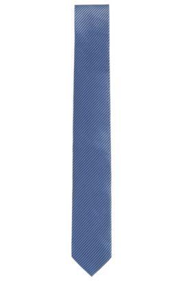 Cravate en jacquard de soie, avec motif à pois fins, Bleu vif