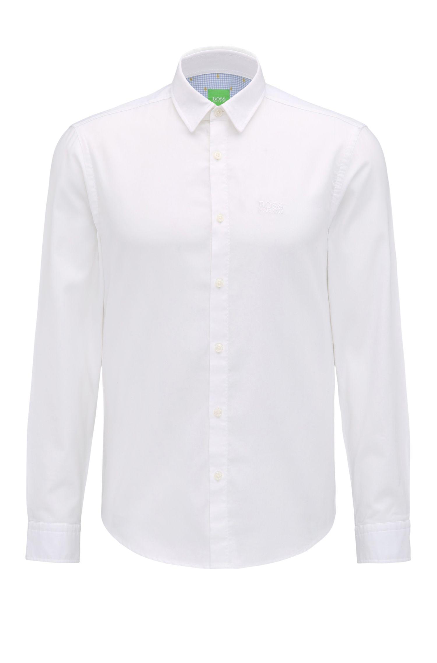 Camicia regular fit in cotone con logo ricamato