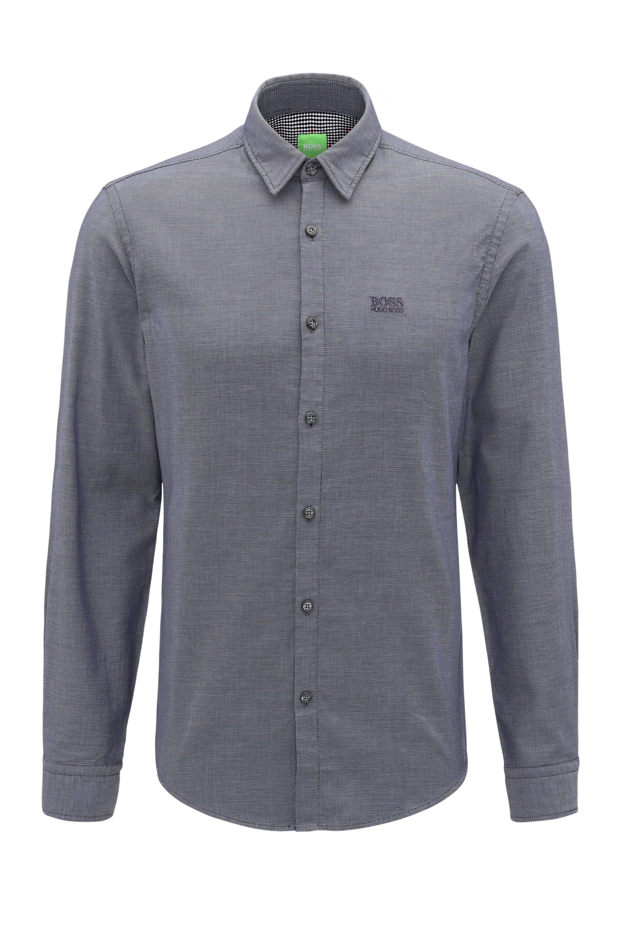 Regular-Fit Hemd aus Baumwolle mit Logo-Stickerei, Dunkelblau