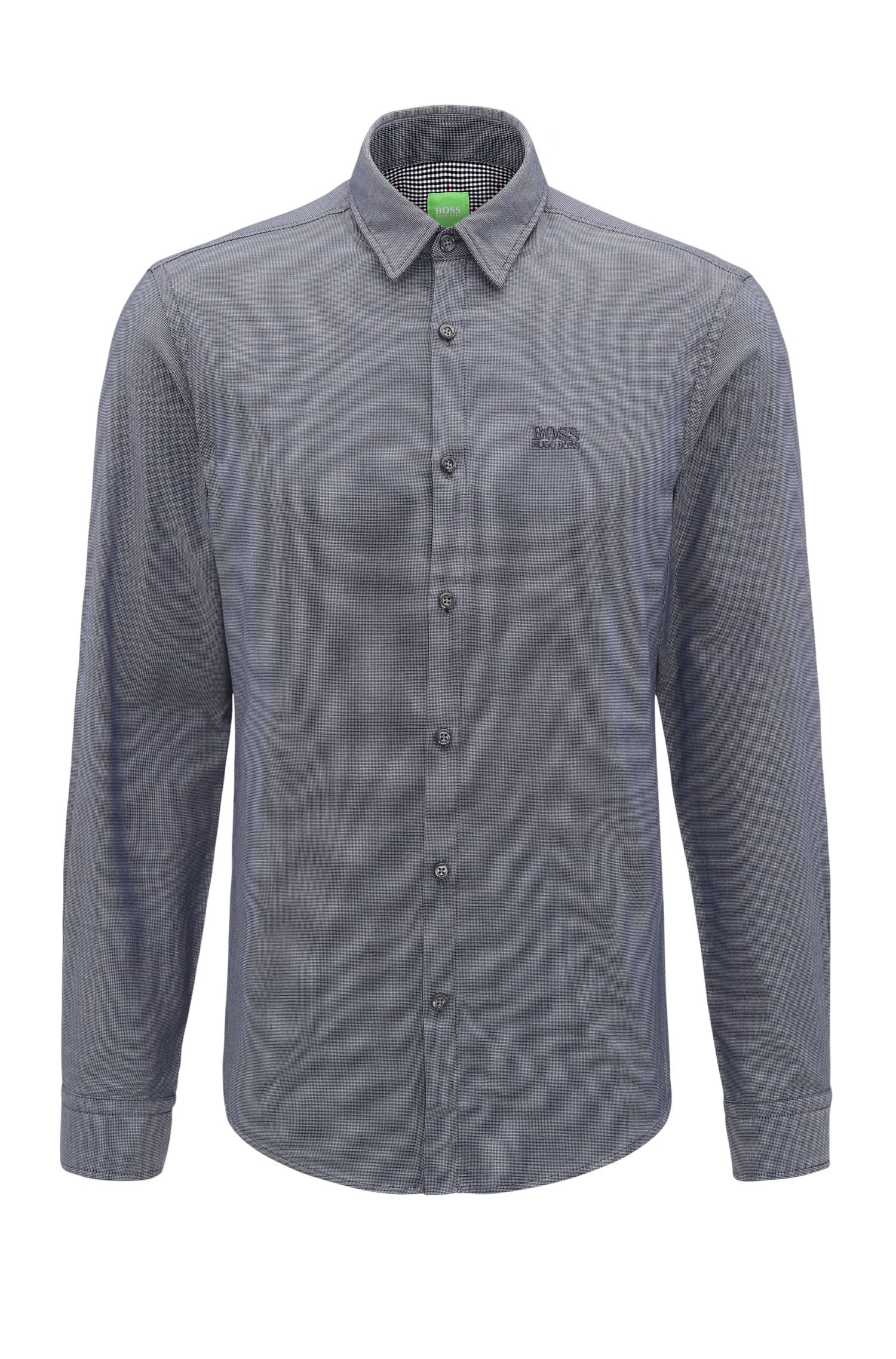 Regular-fit cotton shirt with embroidered logo