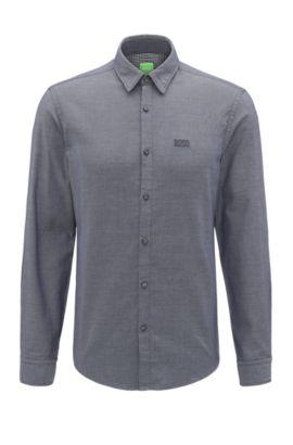 Camicia regular fit in cotone con logo ricamato, Blu scuro
