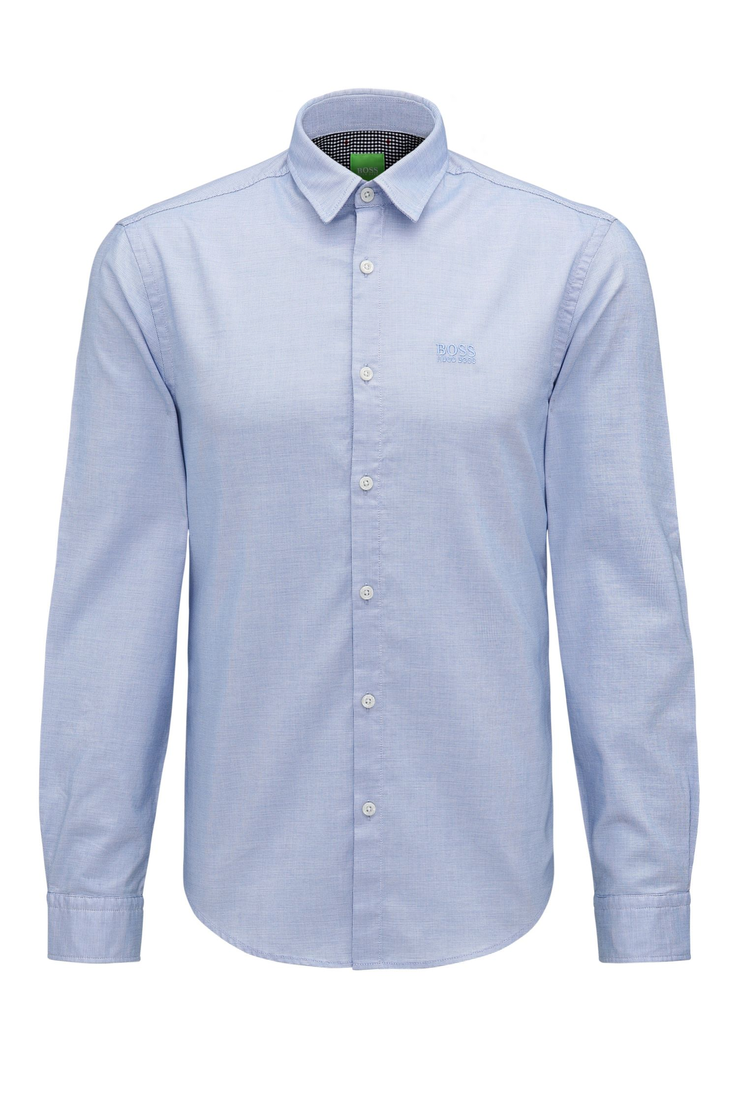 Camicia regular fit in cotone con logo ricamato