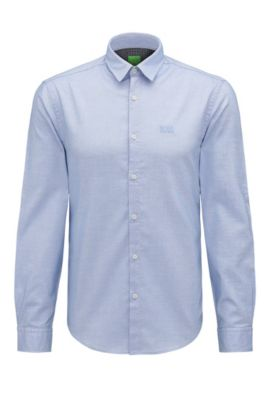 Camicia regular fit in cotone con logo ricamato, Celeste