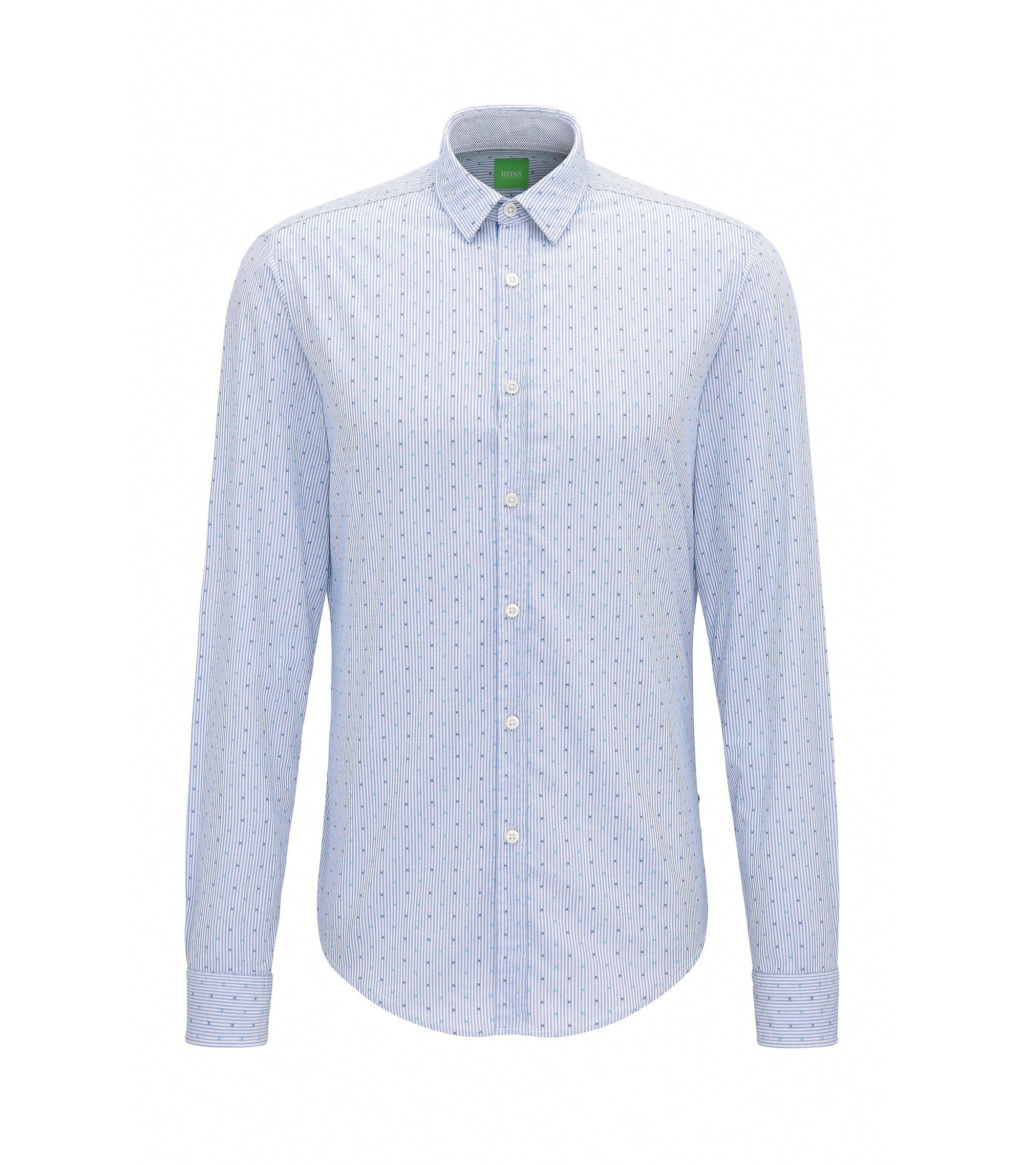 Chemise Regular Fit en coton à micro-motif, Bleu vif