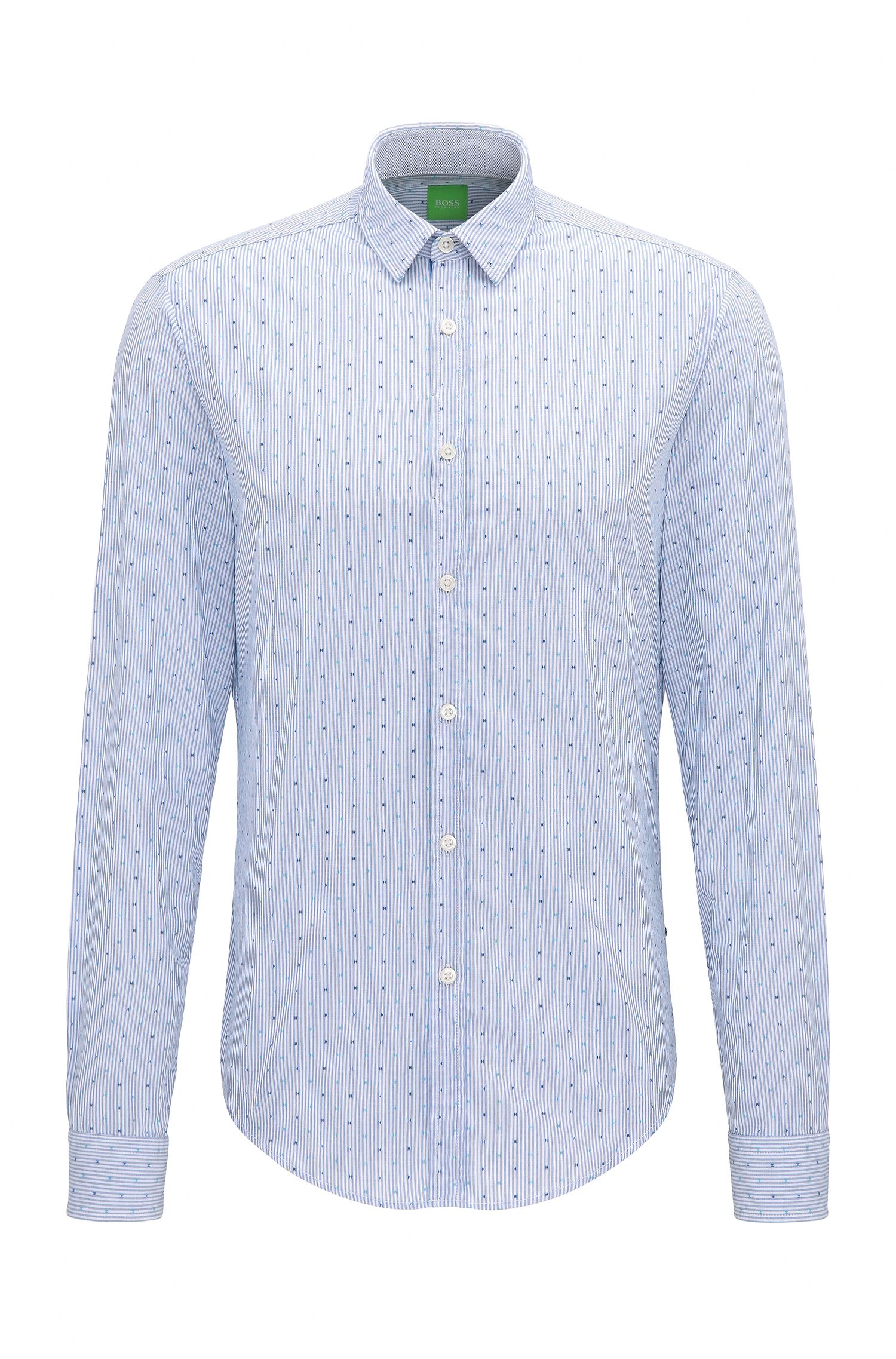 Regular-fit cotton shirt with micro pattern