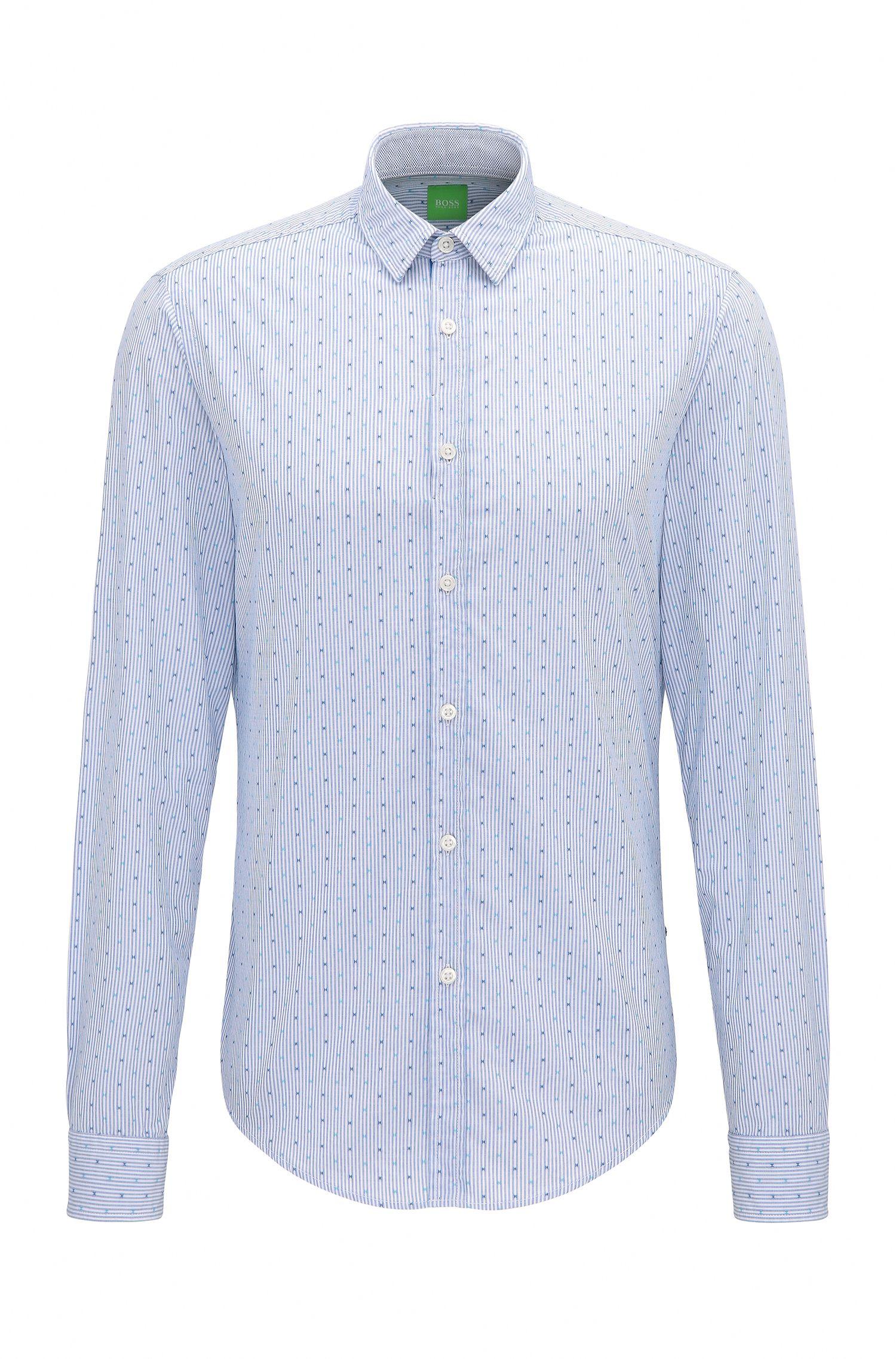Camisa regular fit de algodón con microestampado