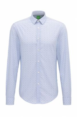 Regular-fit cotton shirt with micro pattern, Open Blue
