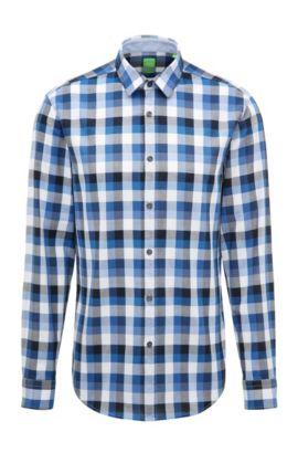 Kariertes Regular-Fit Hemd aus Baumwolle, Blau