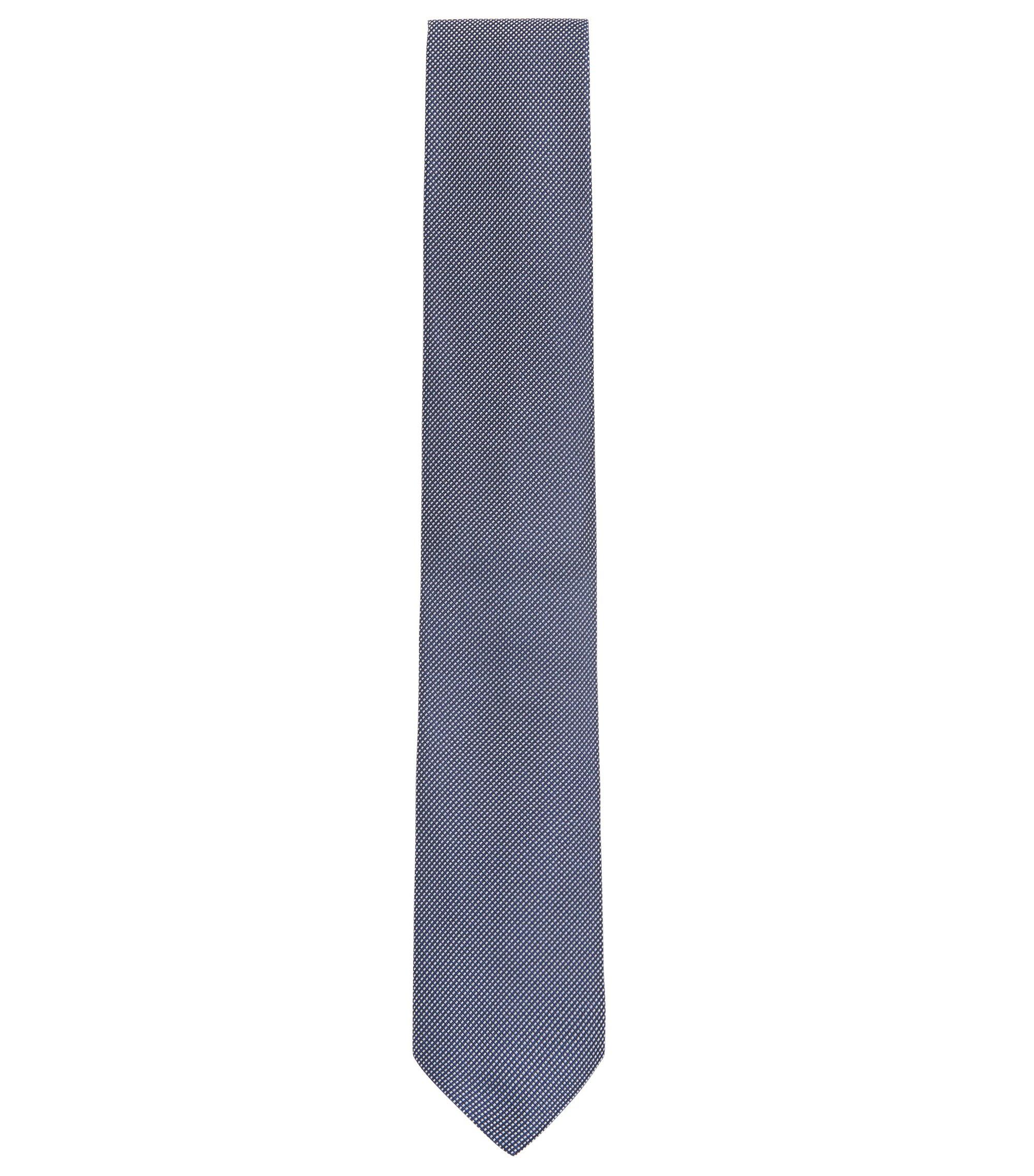 Cravate en jacquard de soie raffinée à micro-motif, Bleu foncé