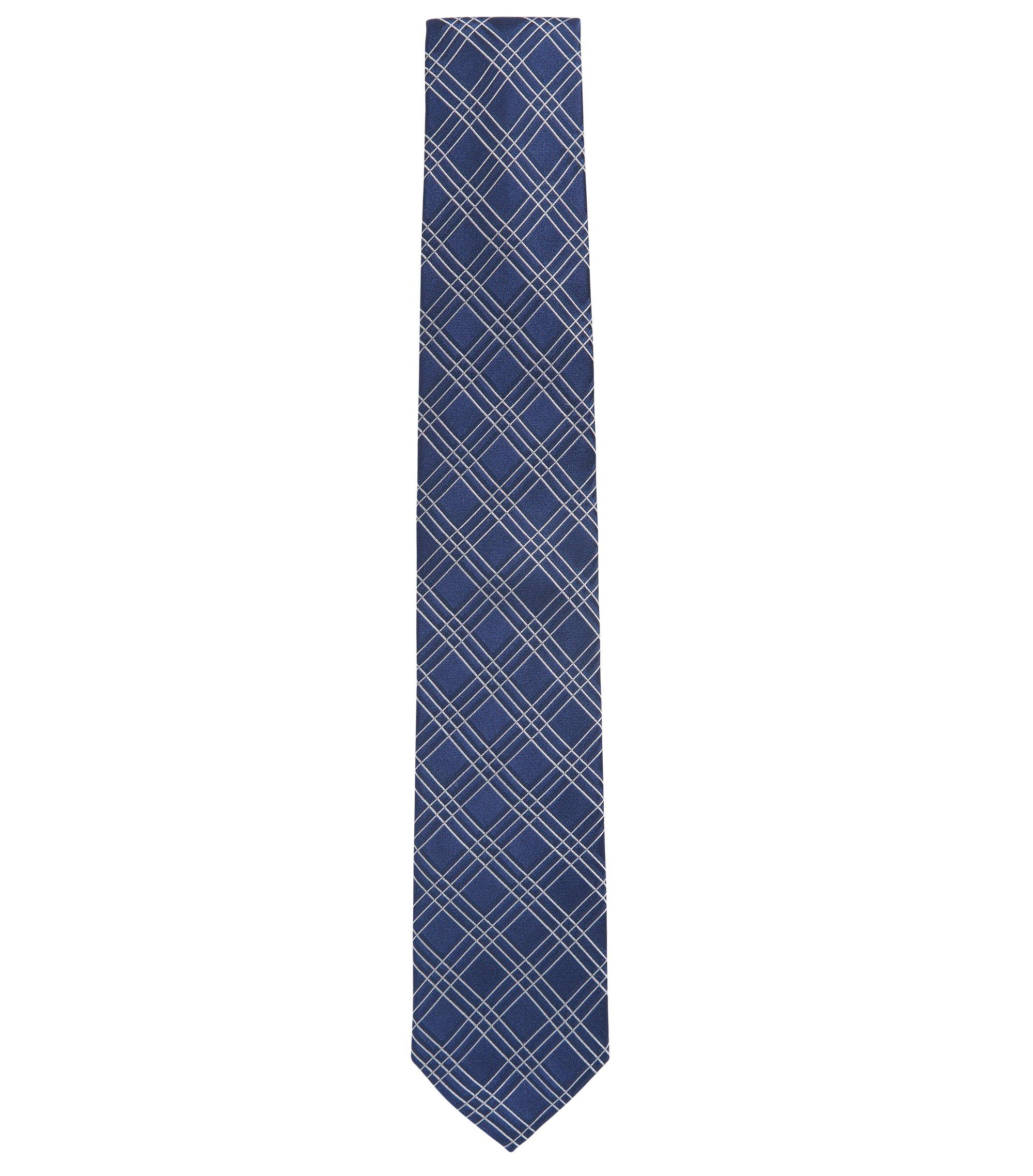 Large cravate en jacquard de soie à motif à carreaux, Bleu foncé