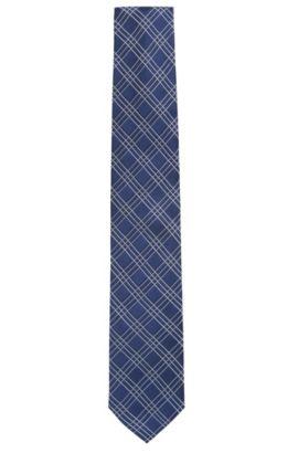 Corbata de cuadros grandes en tejido jacquard de seda, Azul oscuro
