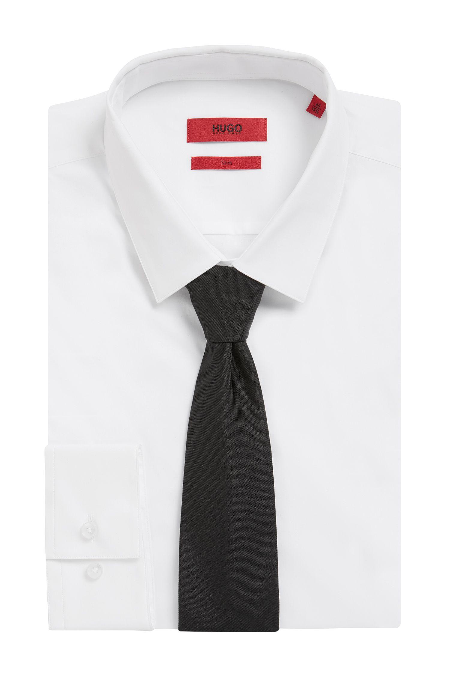 Cravate en jacquard de soie texturé, Noir