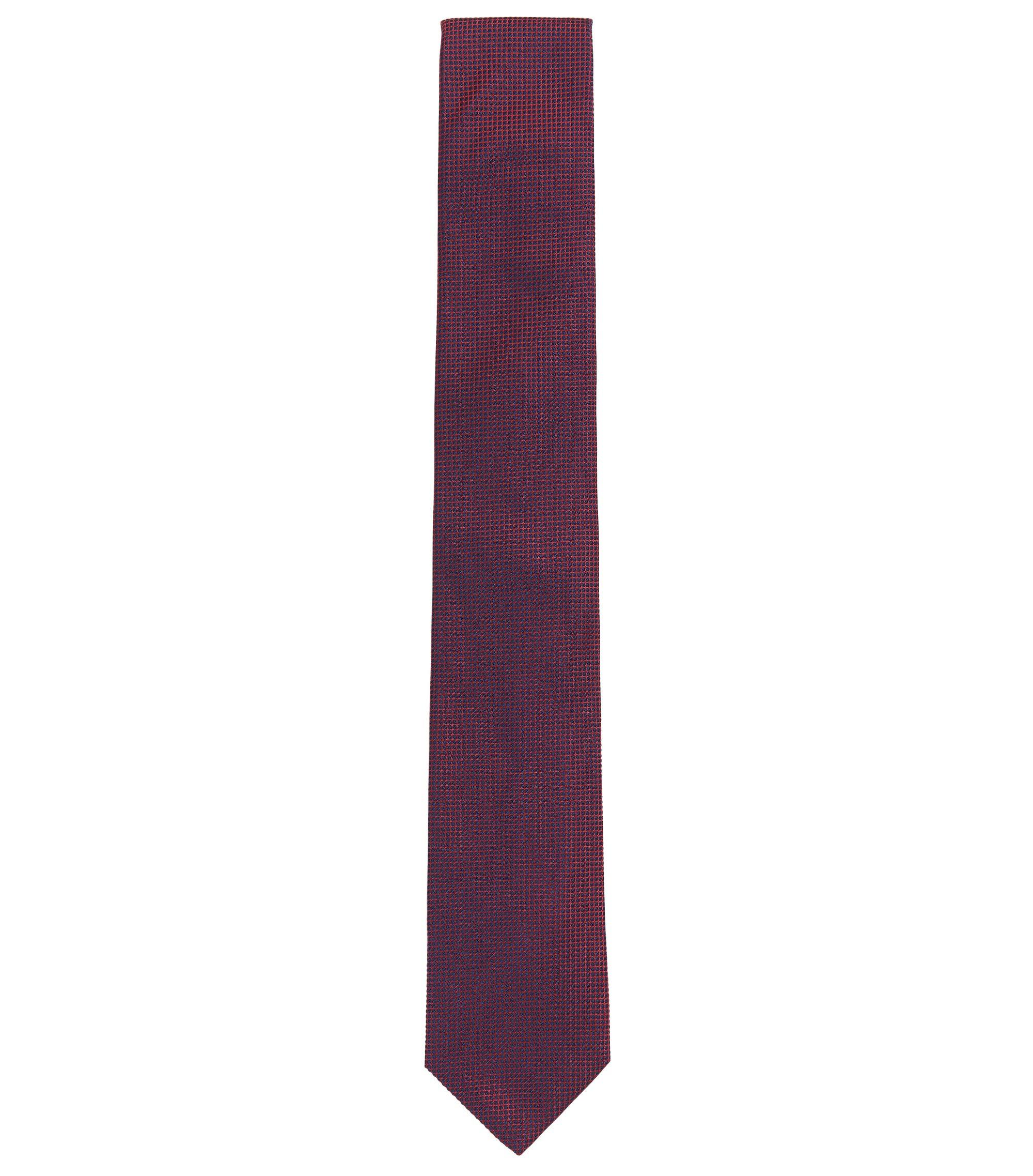 Krawatte aus Seiden-Jacquard mit grafischem Muster, Dunkelblau