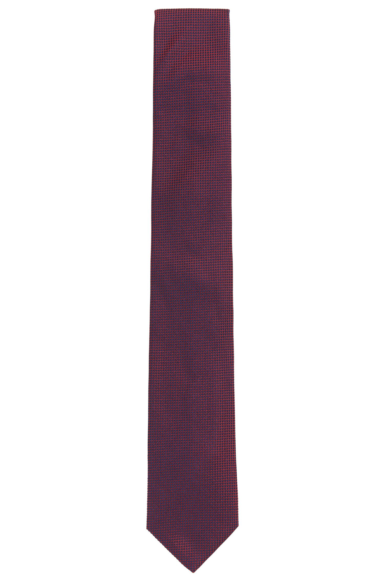 Silk jacquard tie in contrast graph pattern