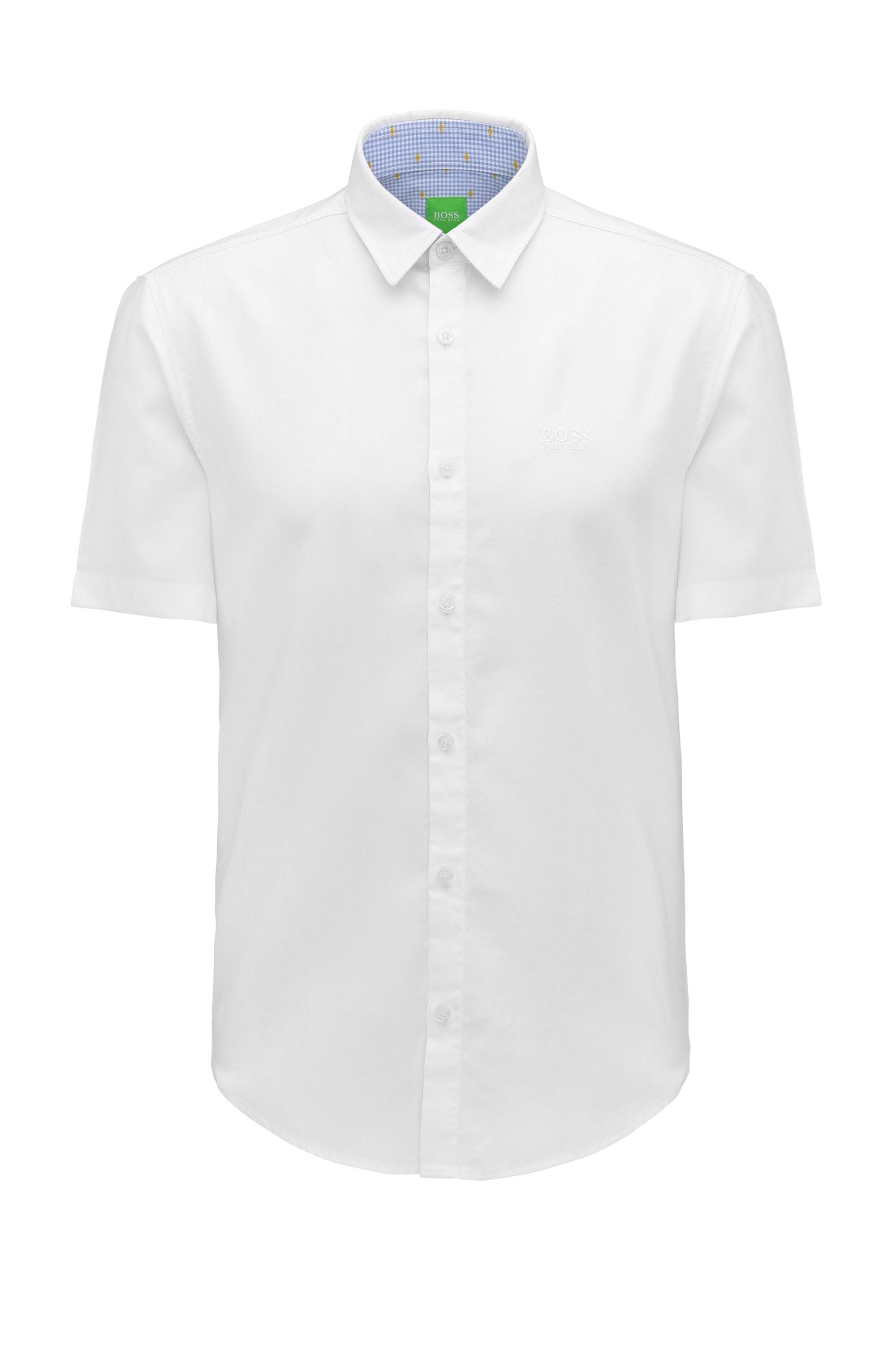 Regular-Fit Hemd aus Fil-à-Fil-Baumwolle, Weiß