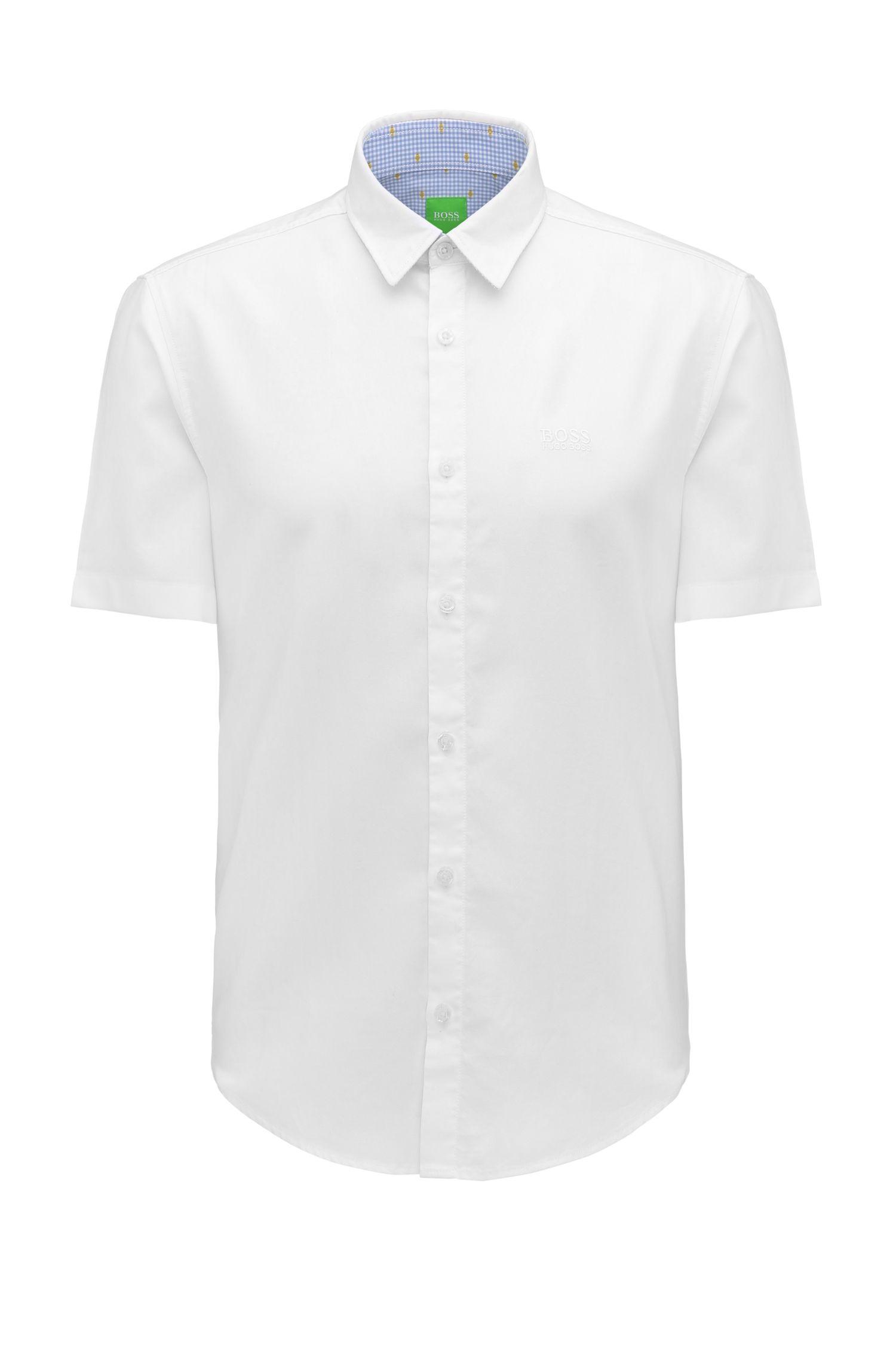 Camisa regular fit en algodón fil a fil