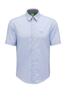 Regular-Fit Hemd aus Fil-à-Fil-Baumwolle, Hellblau