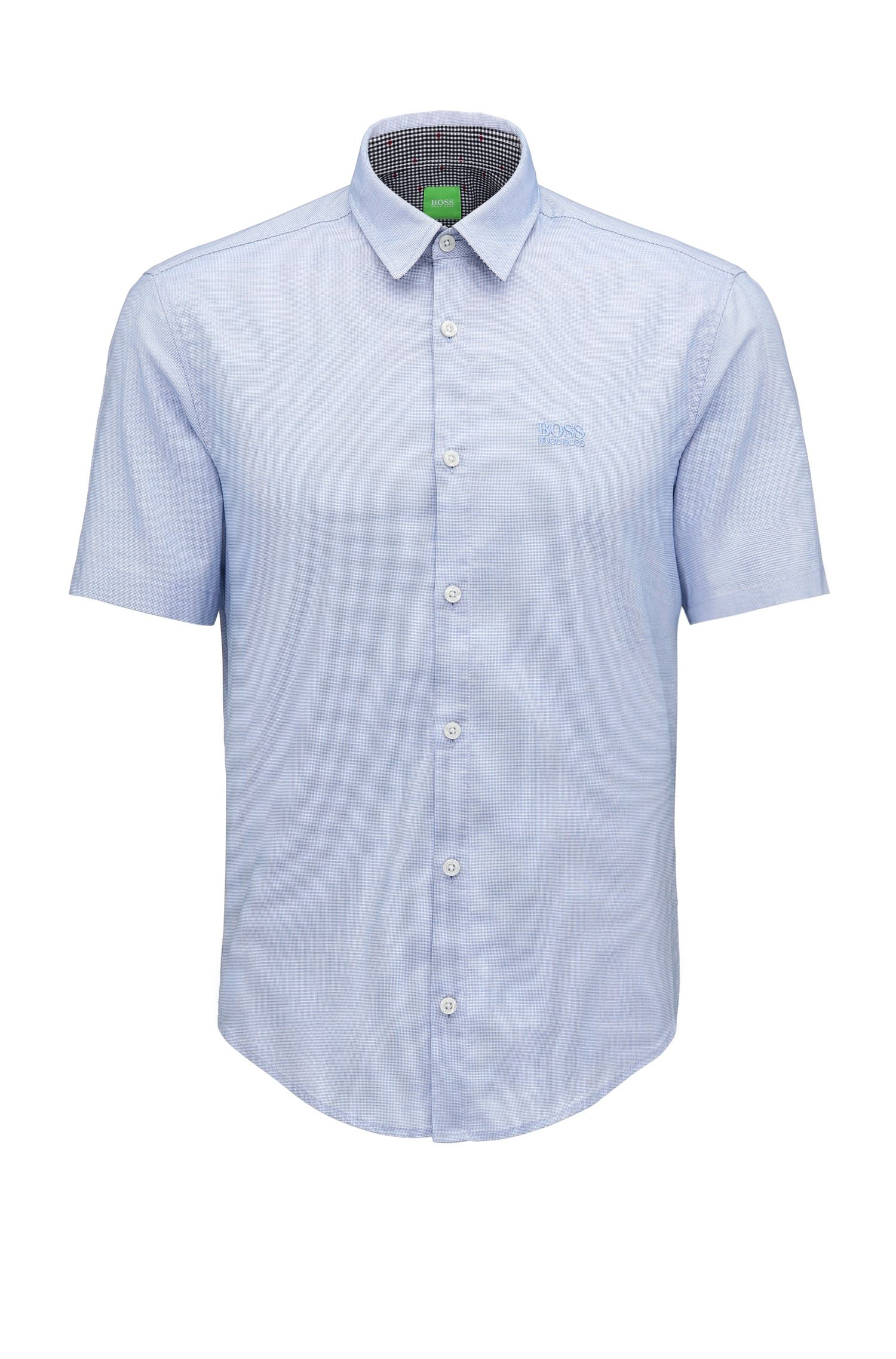 Camisa regular fit en algodón fil a fil