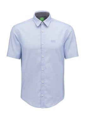 Camicia regular fit in cotone fil-à-fil, Celeste