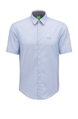 Regular-fit shirt in end-on-end cotton, Open Blue