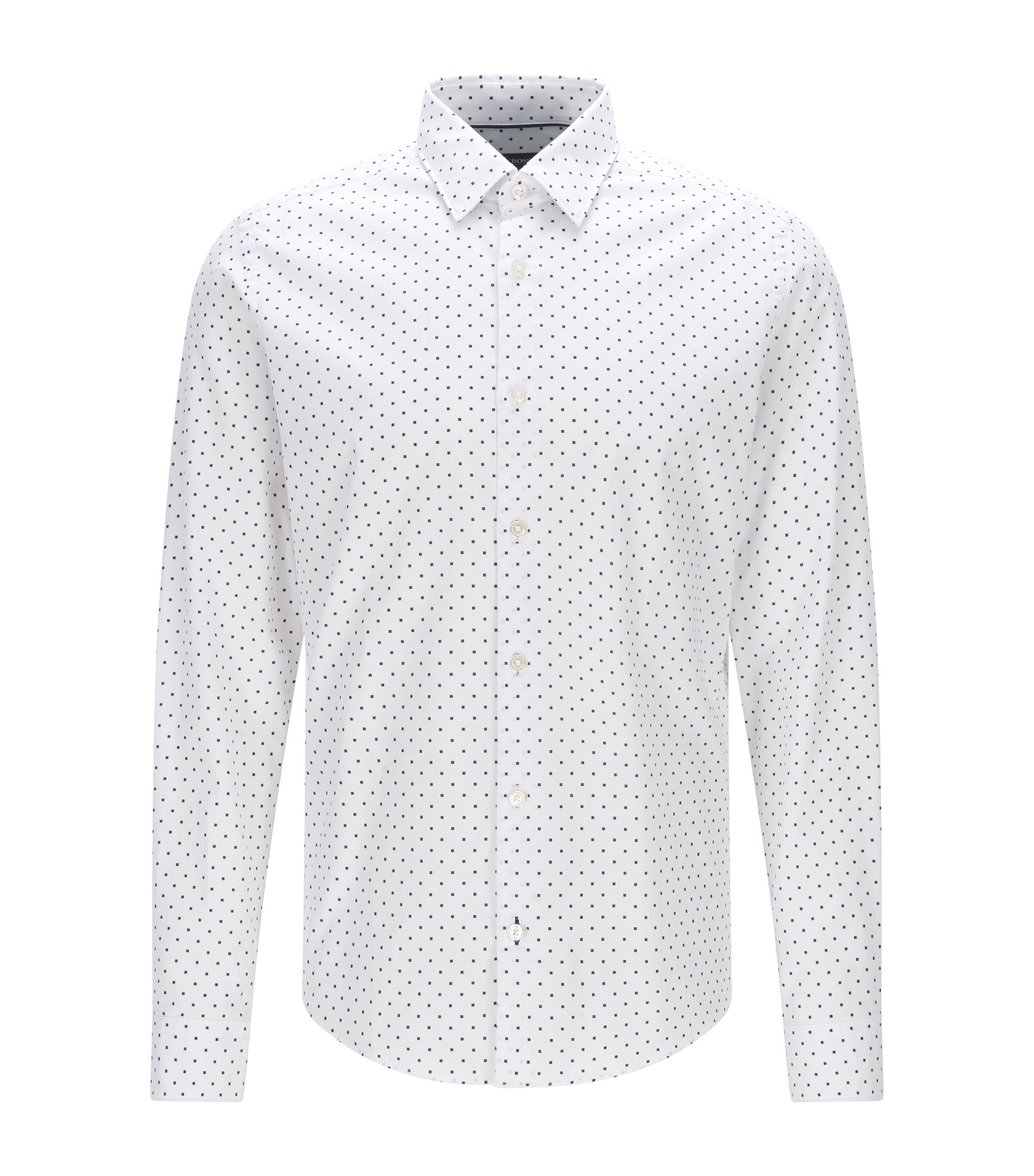 Regular-Fit Print-Hemd aus italienischem Baumwoll-Jacquard, Weiß