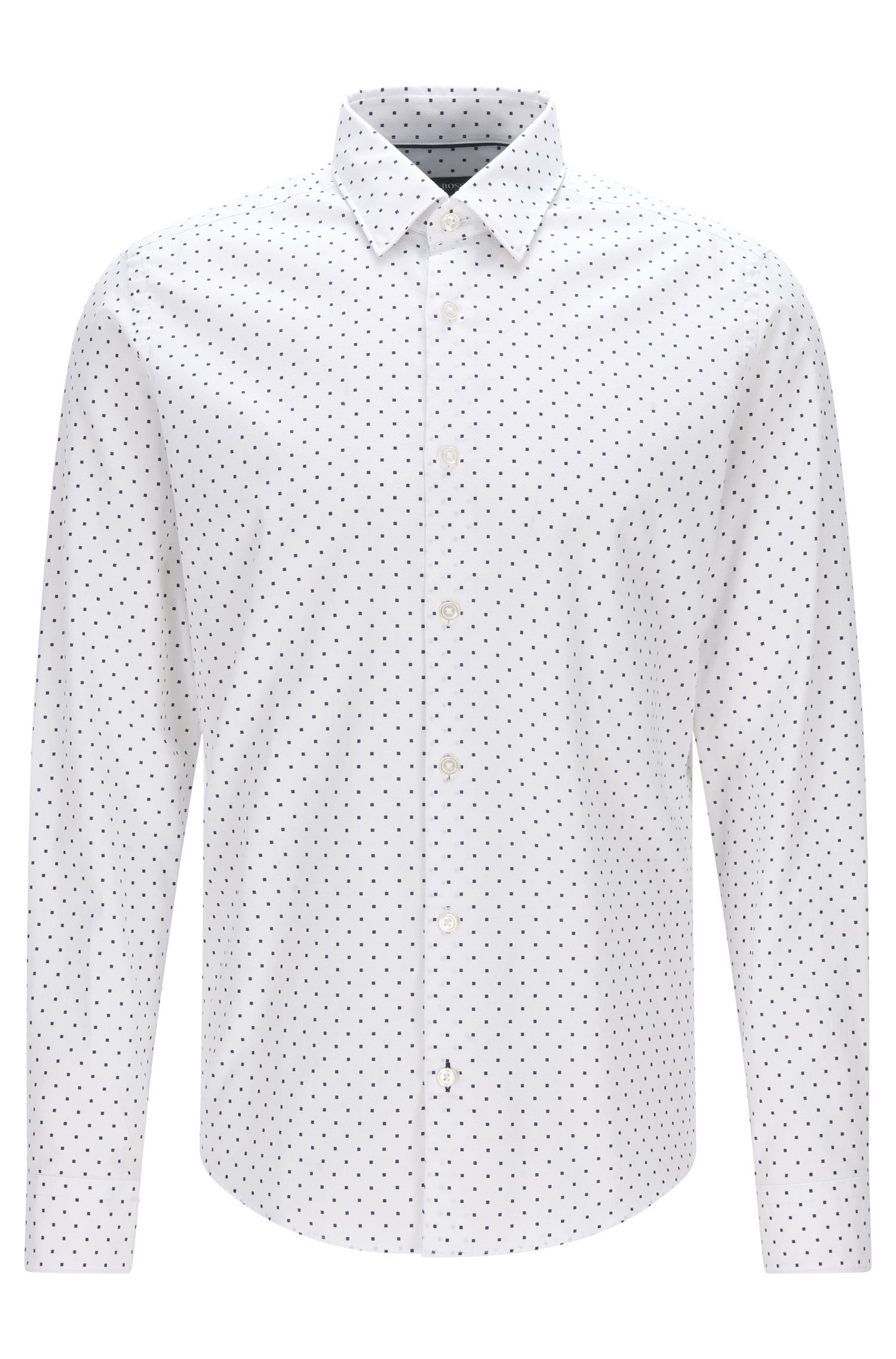 Regular-fit cotton jacquard shirt in Italian dot print