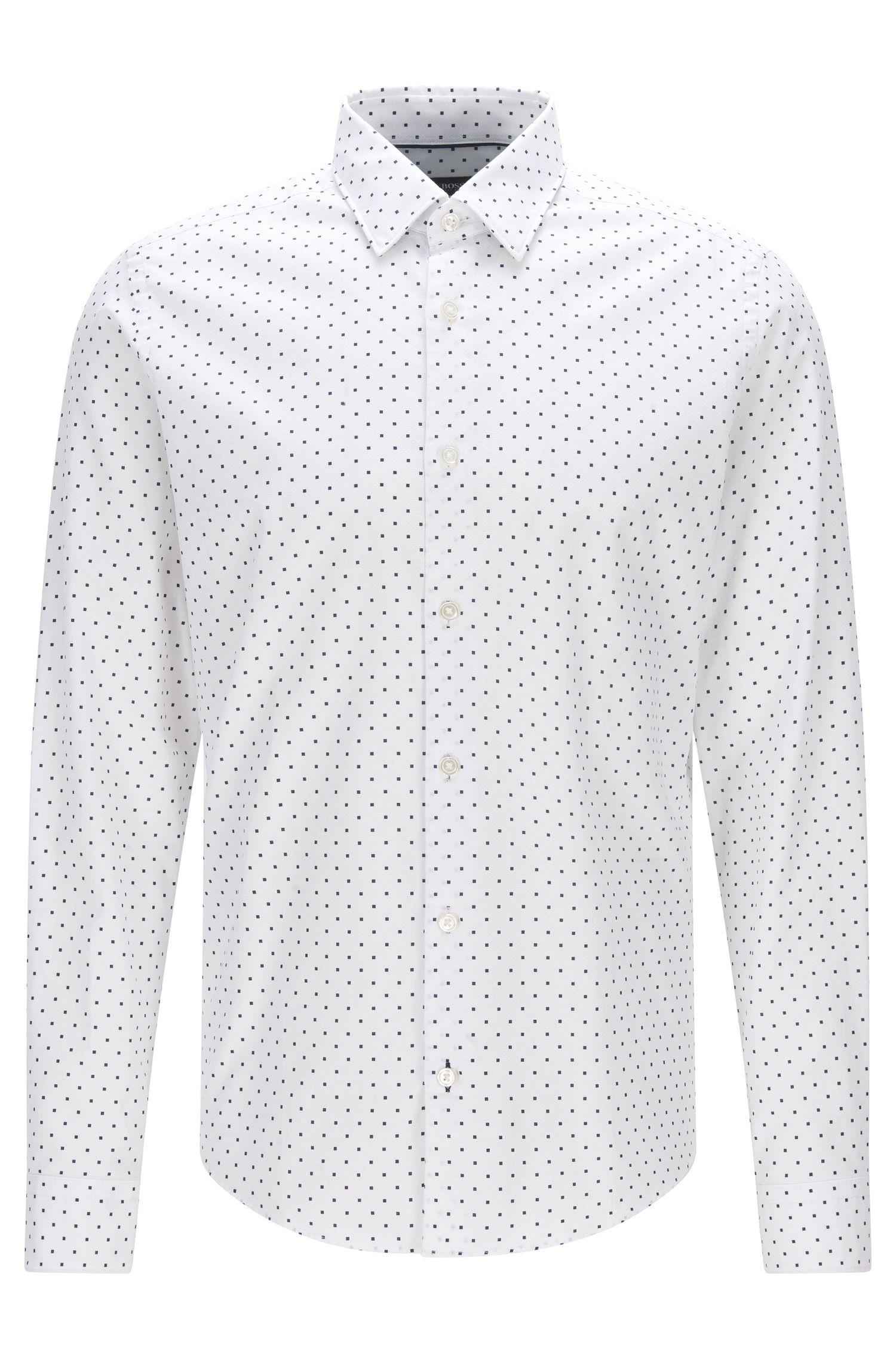Camisa regular fit en jacquard de algodón con estampado de puntos italiano