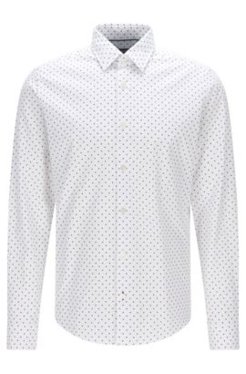 Regular-fit cotton jacquard shirt in Italian dot print, White