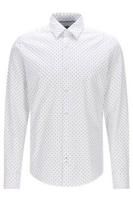 Camisa regular fit en jacquard de algodón con estampado de puntos italiano, Blanco