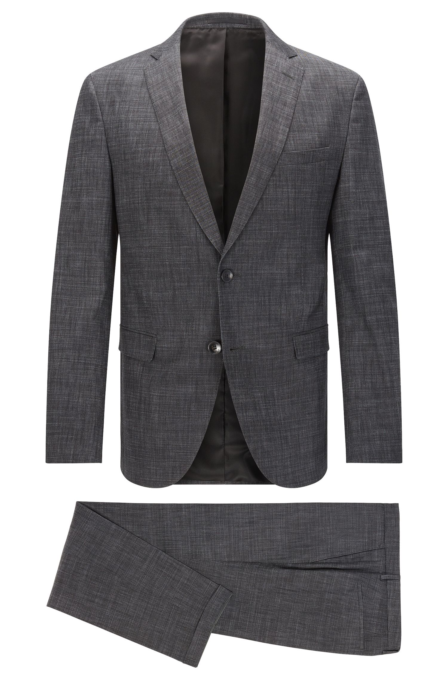 Extra slim-fit suit made from a cotton blend in a melange design: 'Reyno3/Wave1'