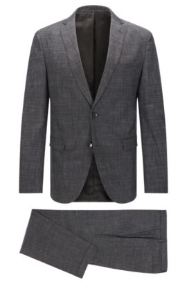 Extra slim-fit suit made from a cotton blend in a melange design: 'Reyno3/Wave1', Anthracite