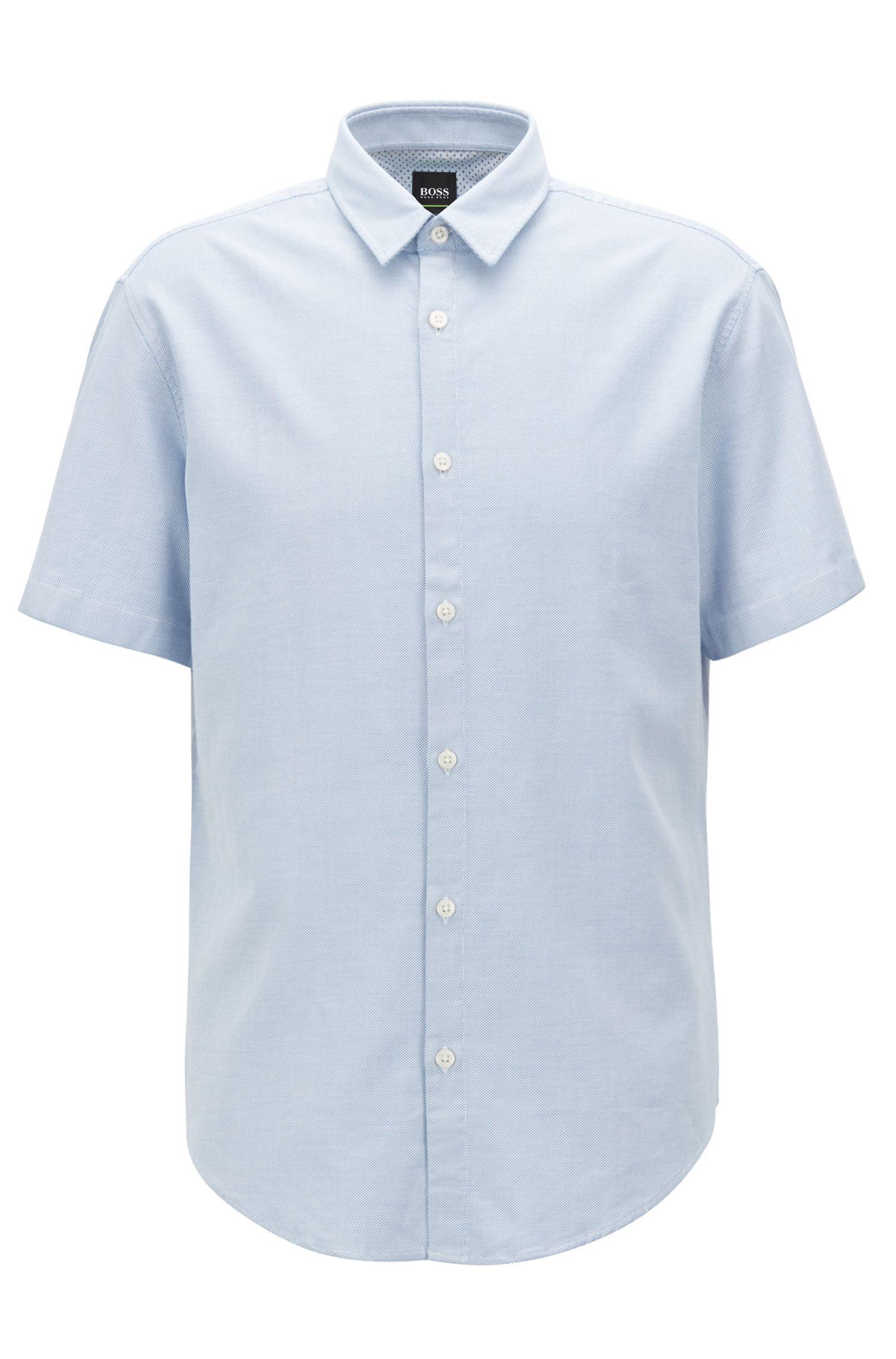 Camisa regular fit en algodón con lavado enzimático