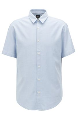 Regular-fit shirt in enzyme-washed cotton, Open Blue