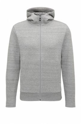Sweat Slim Fit à capuche en coton mélangé, Gris chiné
