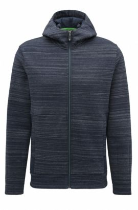 Slim-fit hooded sweater in a cotton blend, Dark Blue