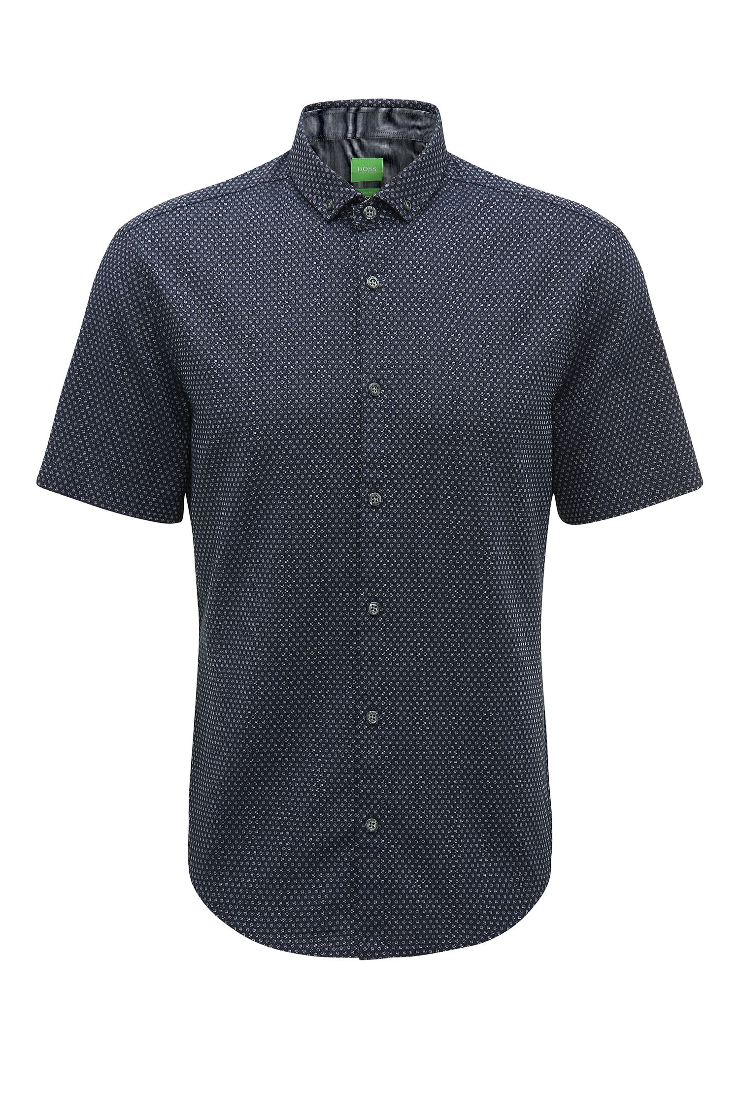 Camisa slim fit en algodón con lavado enzimático