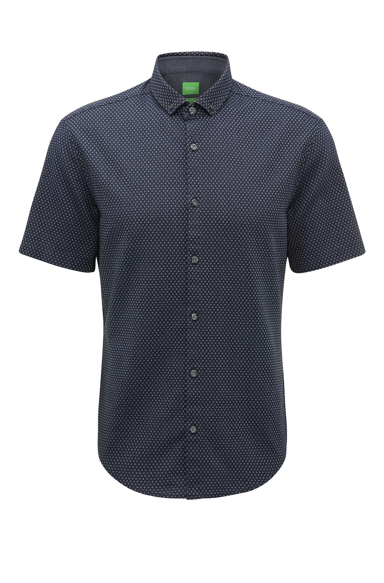 Camicia slim fit in cotone trattato con lavaggio enzimatico
