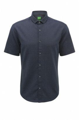 Camisa slim fit en algodón con lavado enzimático, Azul oscuro