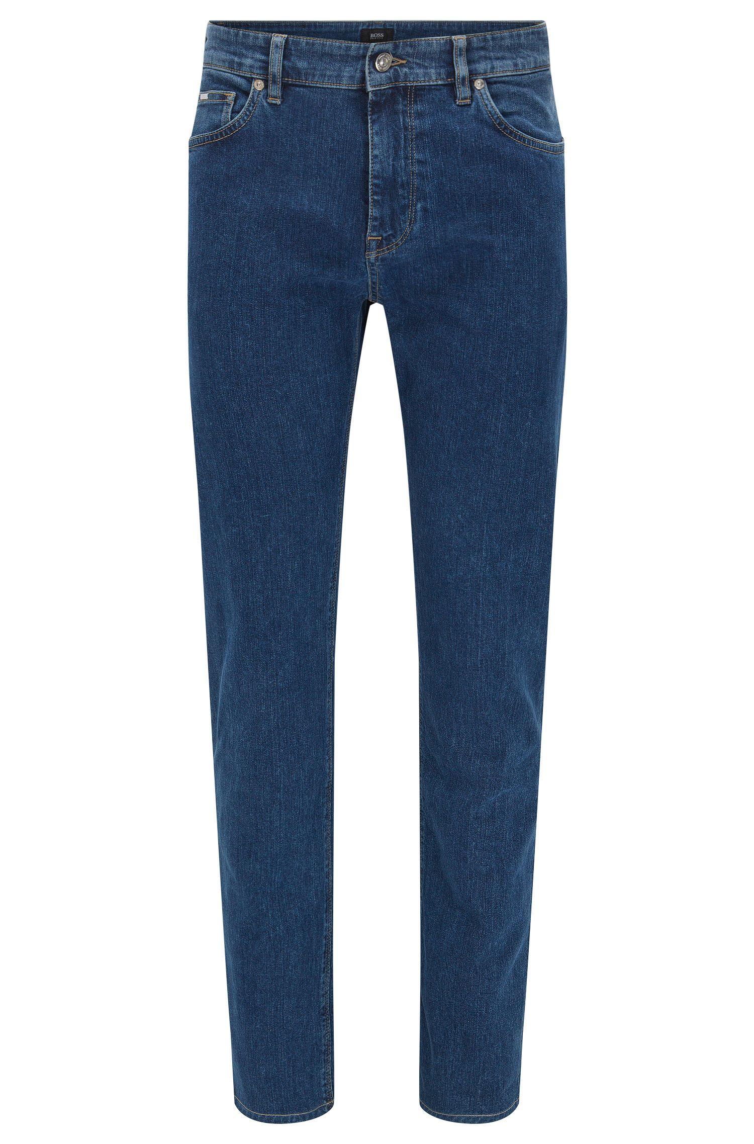 Regular-fit stonewashed jeans van stretchdenim