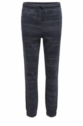 Slim-fit jersey trousers with high-density artwork, Dark Blue